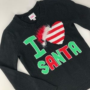 Justice Sparkly I love Santa Christmas Sweater 10